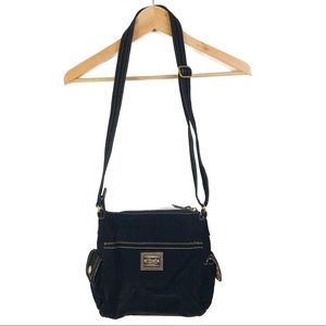 Fossil Black Velour Cord Texture Crossbody Bag
